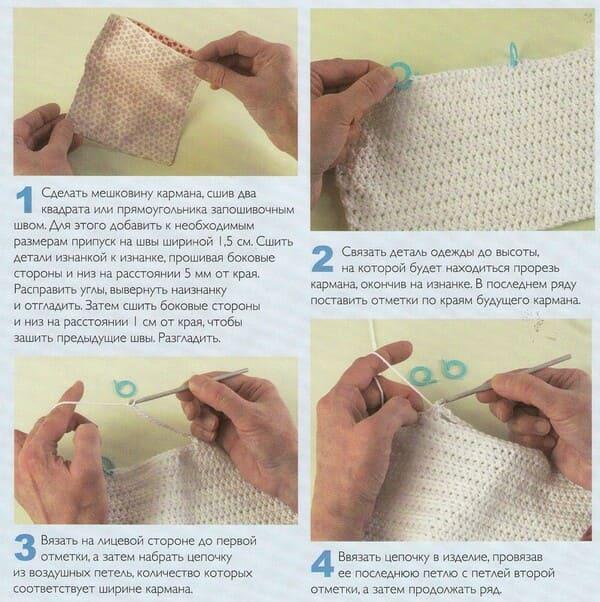 схема Втачной карман из ткани